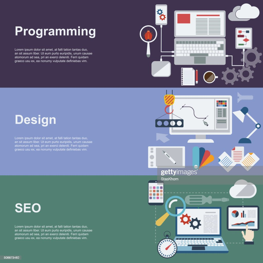 Web development banner set with coding seo and design elements.