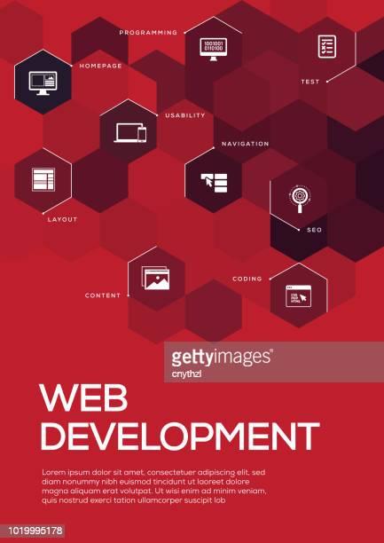 web development. brochure template layout, cover design - html stock illustrations, clip art, cartoons, & icons