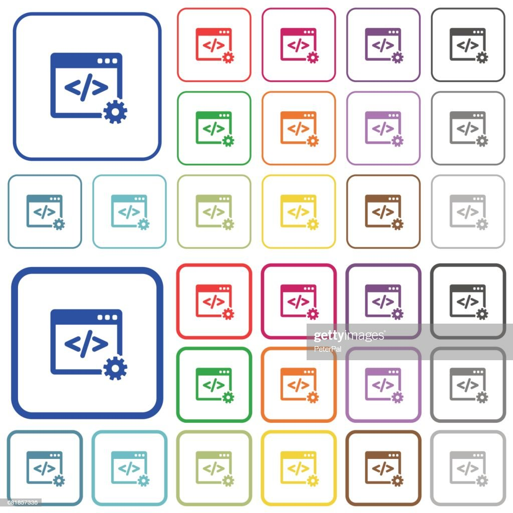 Web development color outlined flat icons
