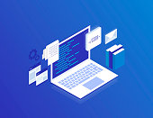 Web Development concept, programming and coding. Laptop with virtual screens on blue background. Modern isometric vector illustration
