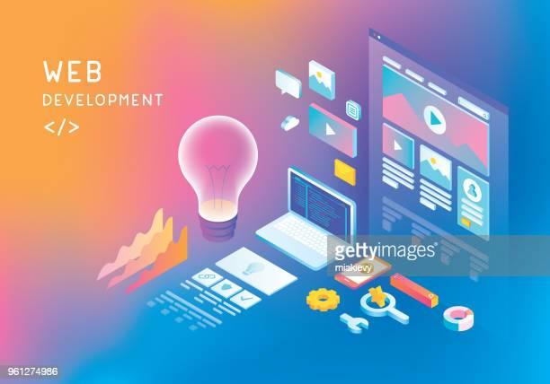 ウェブ開発のコンセプト - ホームページ点のイラスト素材/クリップアート素材/マンガ素材/アイコン素材