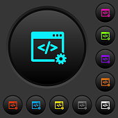 Web development dark push buttons with color icons