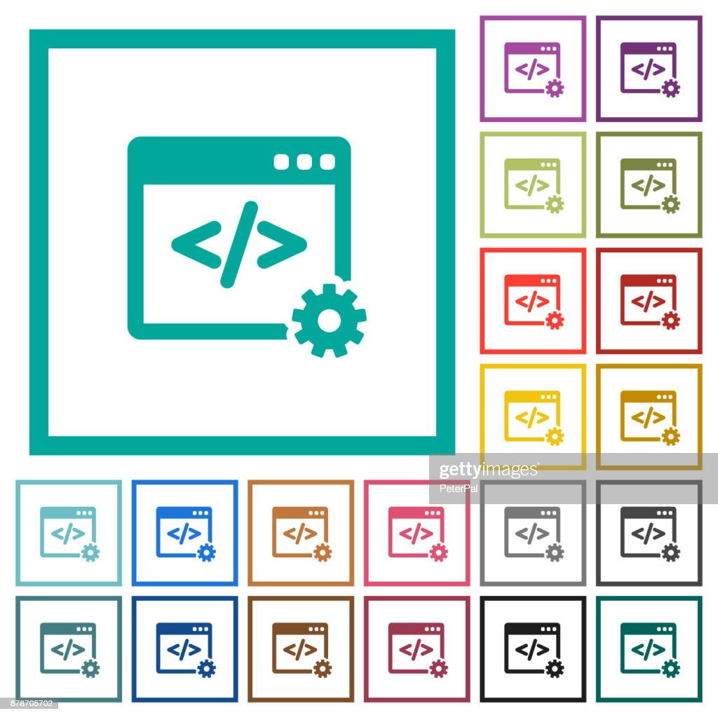 Web development flat color icons with quadrant frames