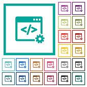 Web development flat color icons with quadrant frames