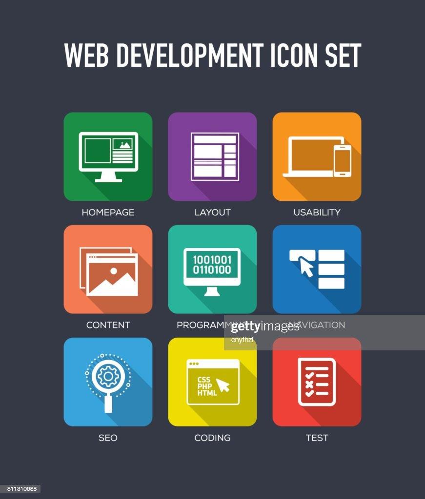 Web 開発フラット アイコン セット : ストックイラストレーション
