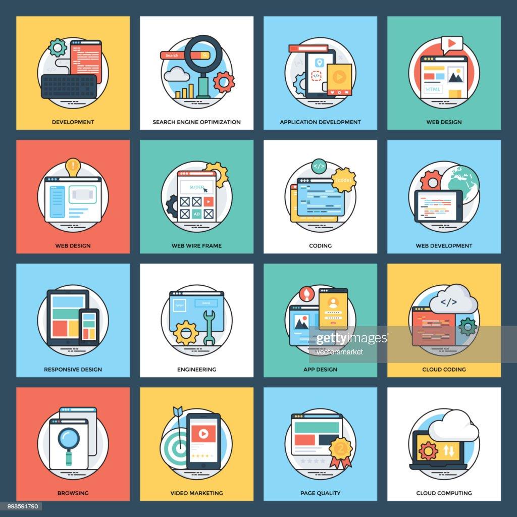 Web Development Flat Icons
