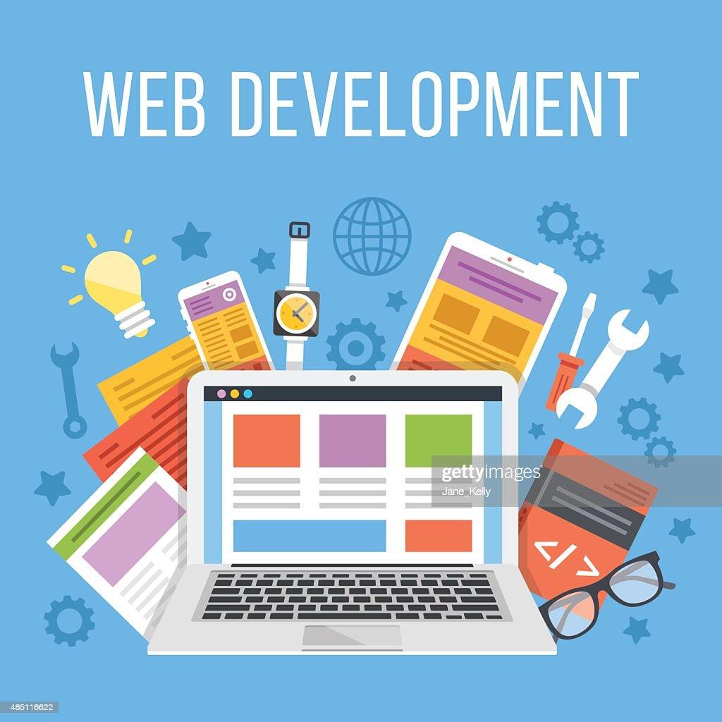Web development flat illustration concept
