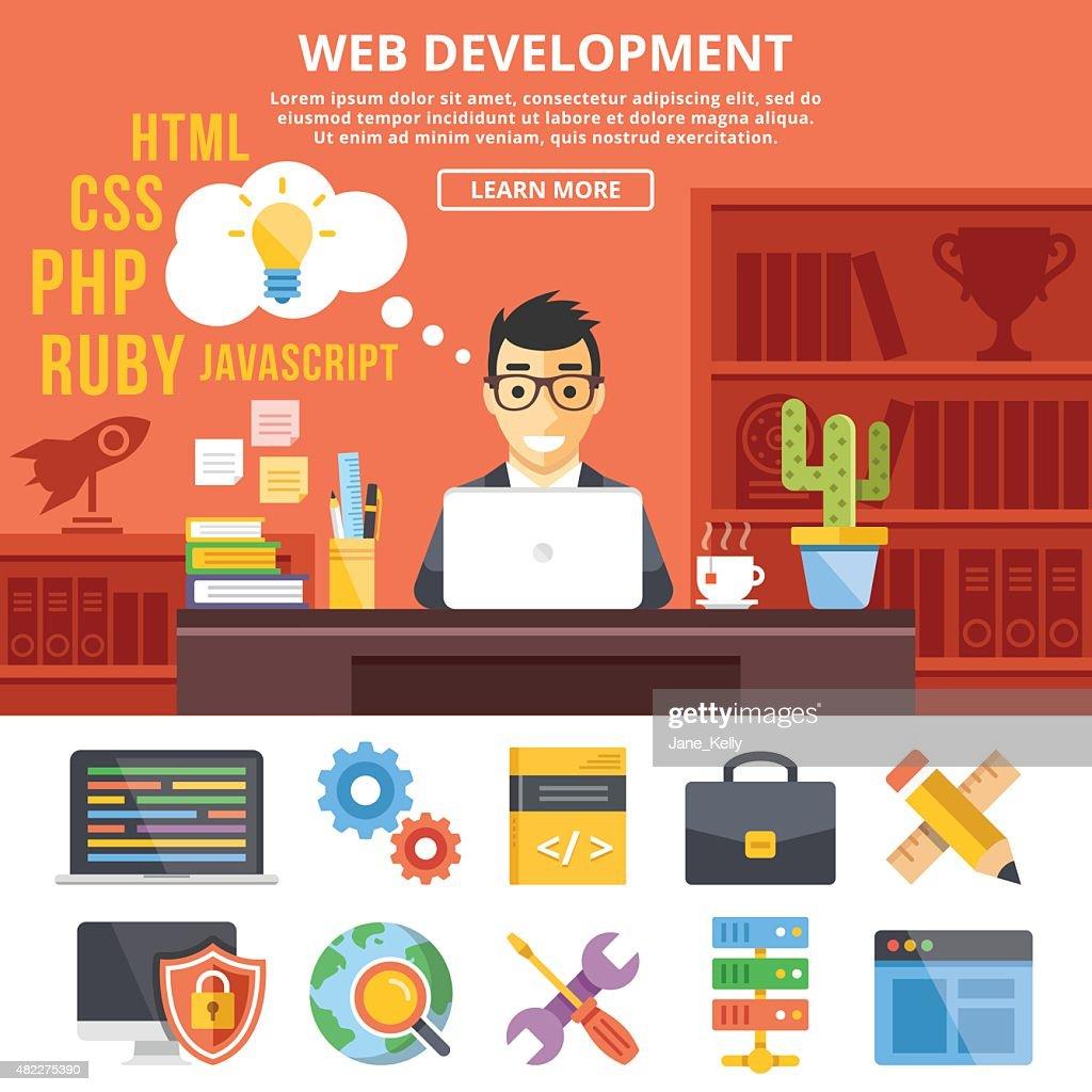 Web development flat illustration concepts and flat icons set