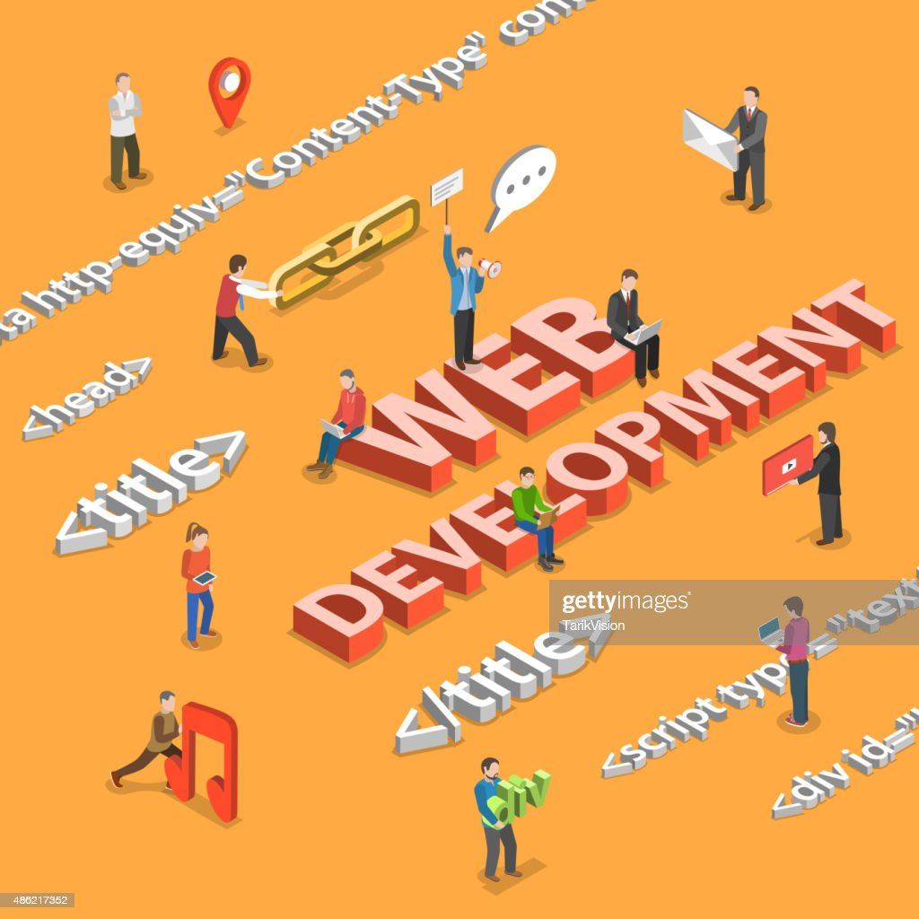 Web development flat isometric concept