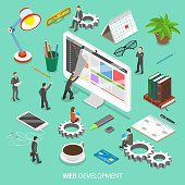 Web development flat isometric vector concept.