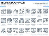 Web Development Icons Set. Technology outline icons pack. Pixel perfect thin line vector icons for web design and website application.