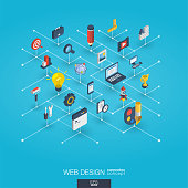 Web development integrated 3d icons. Digital network isometric interact concept.