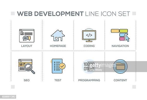 Web Development keywords with line icons