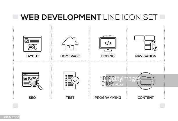 Web Development keywords with monochrome line icons