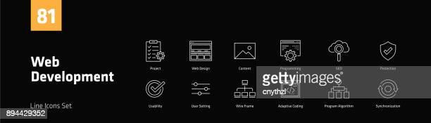 web 開発ライン アイコンを設定 - ホームページ点のイラスト素材/クリップアート素材/マンガ素材/アイコン素材