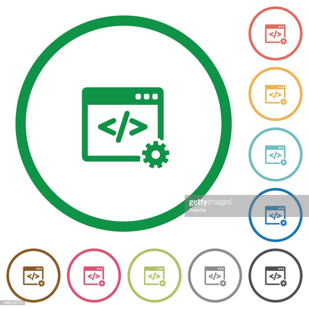 Web development outlined flat icons