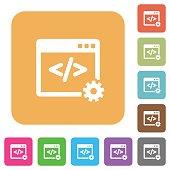 Web development rounded square flat icons
