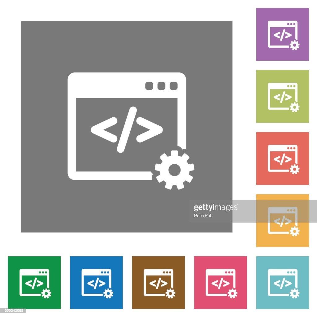 Web development square flat icons