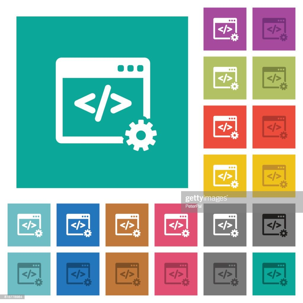 Web development square flat multi colored icons