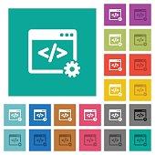 Web development square flat multi colored icons