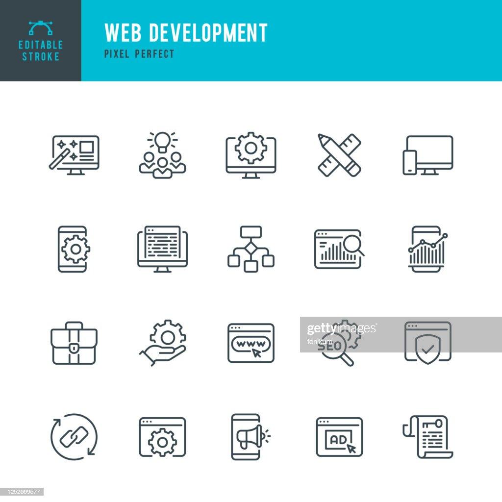 Desenvolvimento da Web - conjunto de ícones vetoriais de linha fina. Pixel perfeito. Golpe editável. O conjunto contém ícones: Web Design, Análise de Dados, Codificação, SEO, Portfólio, Página Web, Ocupação Criativa. : Ilustração
