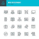 Web Development - thin line vector icon set. Pixel perfect. Editable stroke. The set contains icons: Web Design, Data Analyzing, Coding, SEO, Portfolio, Web Page, Creative Occupation.