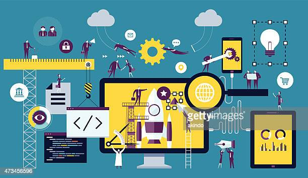 web development - technology stock illustrations, clip art, cartoons, & icons