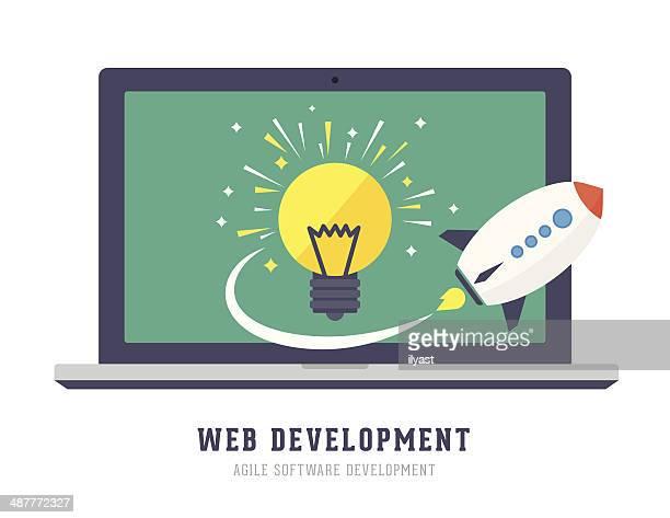 ilustraciones, imágenes clip art, dibujos animados e iconos de stock de desarrollo web - agilidad
