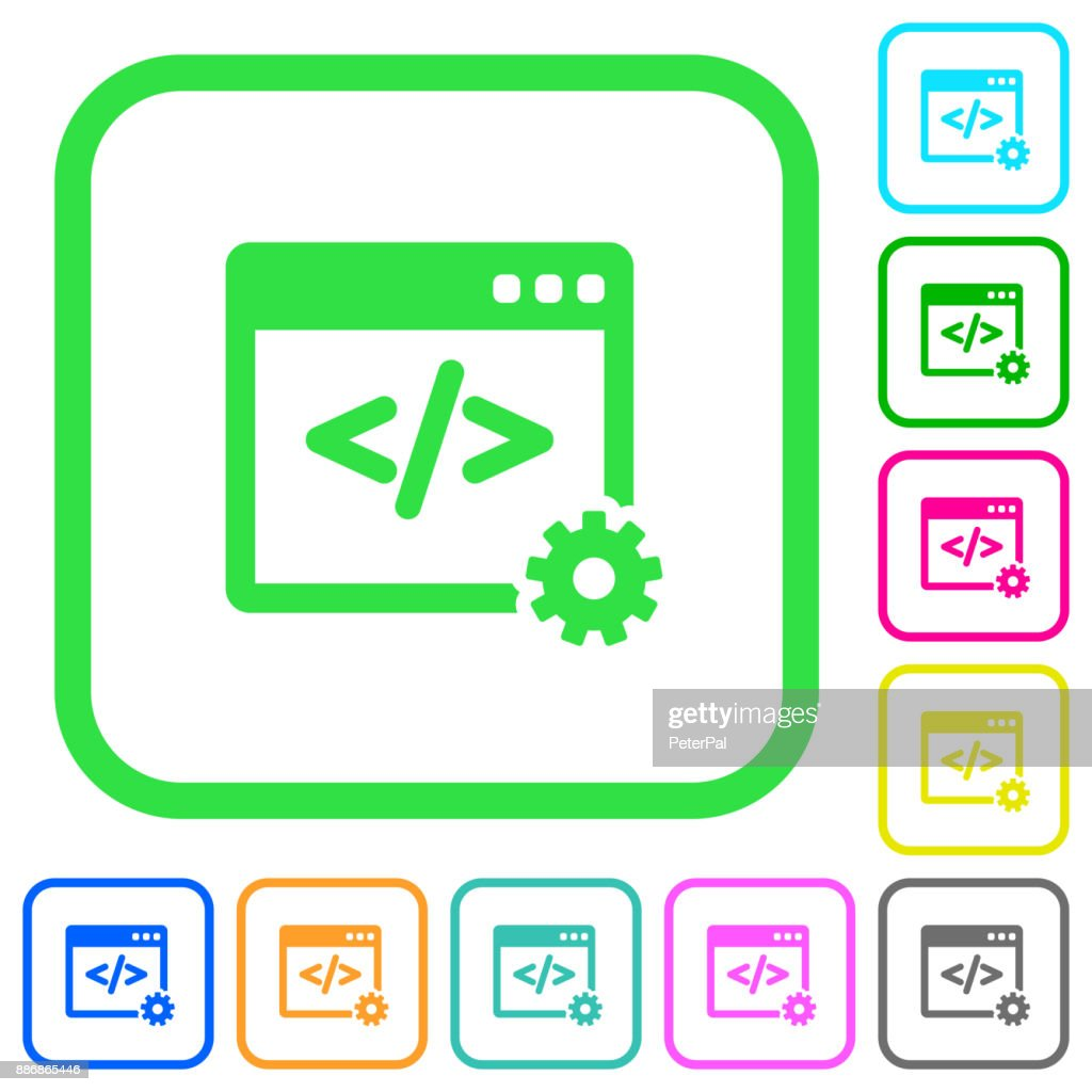 Web development vivid colored flat icons icons
