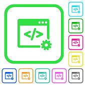 Web development vivid colored flat icons icons