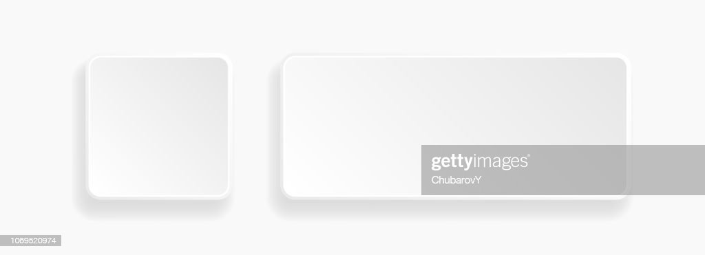 Web embossed 3d buttons. White blank 3d icons