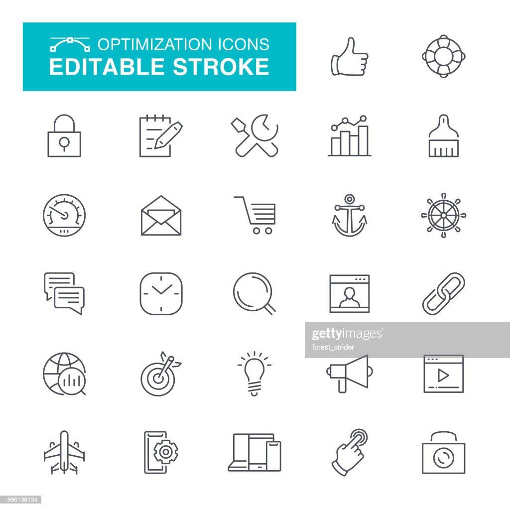 Web Engine Optimization Line Icons : Stock Illustration