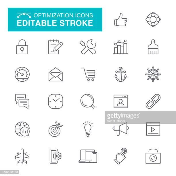 ilustraciones, imágenes clip art, dibujos animados e iconos de stock de iconos de línea de optimización de motor de web - parte del cuerpo humano