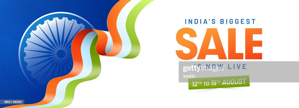 Web header or banner design with Ashoka Wheel, Tricolor Ribbon.