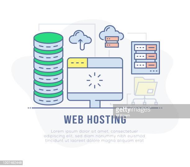 ilustraciones, imágenes clip art, dibujos animados e iconos de stock de web hosting banner - patrocinador