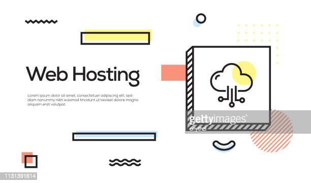 web hosting concept. geometric retro style banner and poster concept with web hosting icon - sponsorship stock illustrations