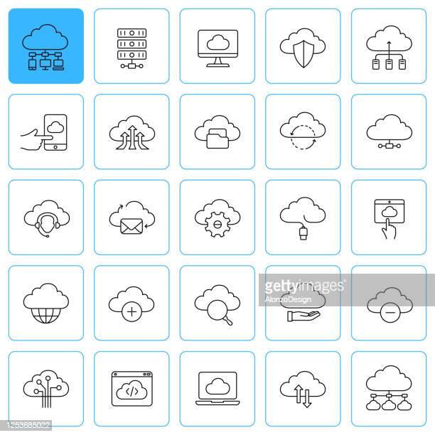 illustrazioni stock, clip art, cartoni animati e icone di tendenza di icone della linea di web hosting. tratto modificabile. - centro elaborazione dati