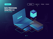 Web hosting, user interface development laboratory concept, data storage in cloud, database and data center icons dark neon isometric vecotr 3d