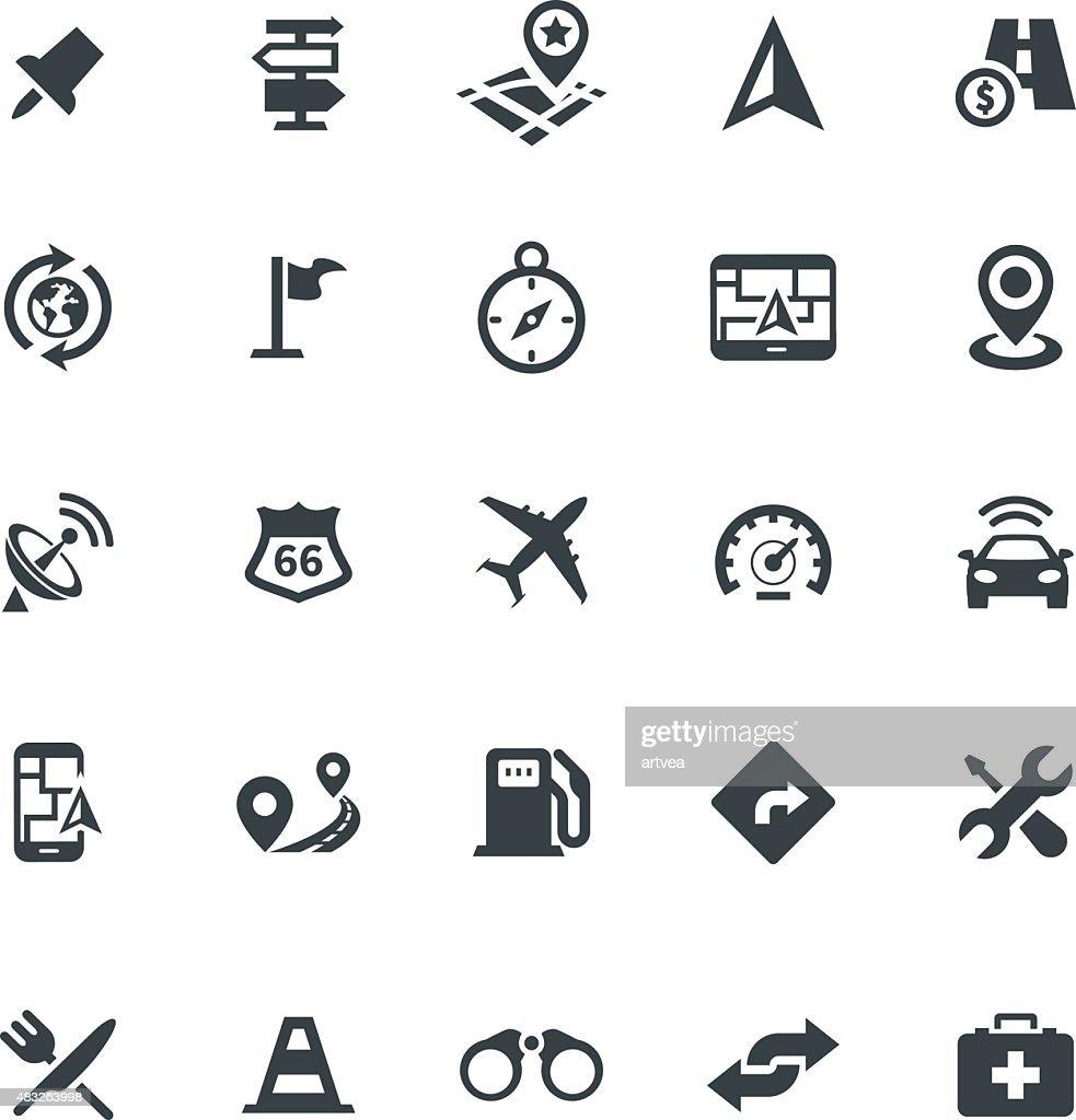 Web icon set - navigation, transport, map