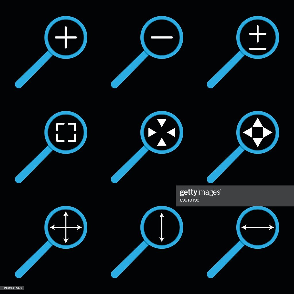 Web icon set of magnifying glass