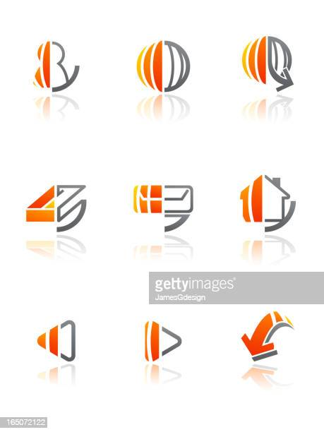 web icon set - orange gradient - former stock illustrations, clip art, cartoons, & icons
