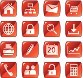 Web icons / buttons. Red glossy series