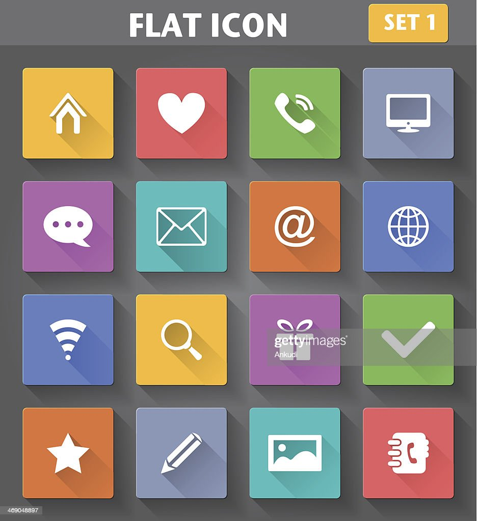 Web Icons set in flat style with long shadows.