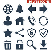 Web icons set on white background.