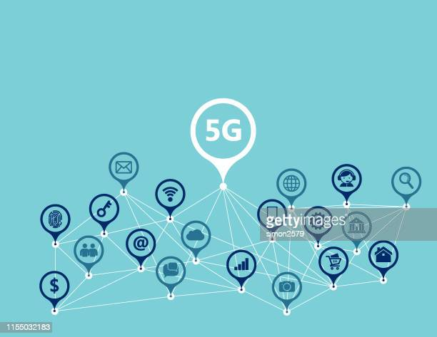 illustrazioni stock, clip art, cartoni animati e icone di tendenza di 5g web interface line icons set - 5g