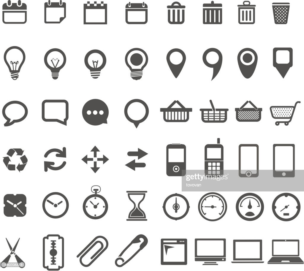 Web interface tools signs isolated on white