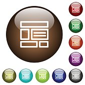 Web layout color glass buttons