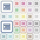 Web layout outlined flat color icons