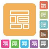 Web layout rounded square flat icons
