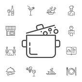 Web line icon. Pan, saucepan illustration. Simple Set of restaurant Vector Line Icons.